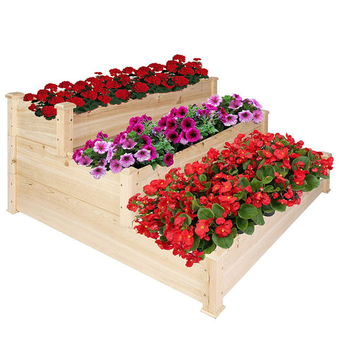 "3 Tier Raised Garden Bed Kit Wooden Planter Box Heavy Duty Solid Fir Wood, 47""x47""x21"""