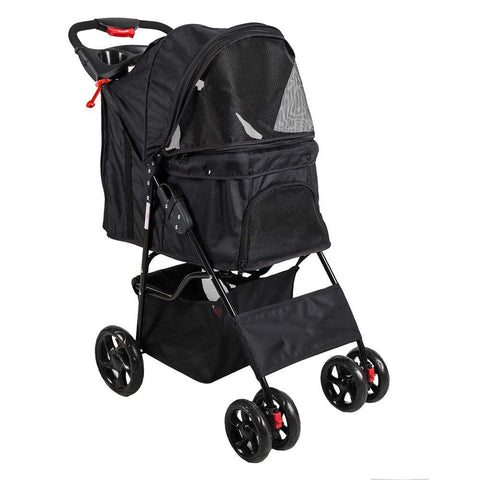 Bosonshop Folding Pet Stroller with 360 Rotating Front Wheel, Black