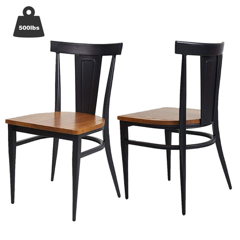 Bosonshop 2 Pack Stackable Metal Dining Chairs with Solid Wooden Seat Weight Capacity 500lbs,Black