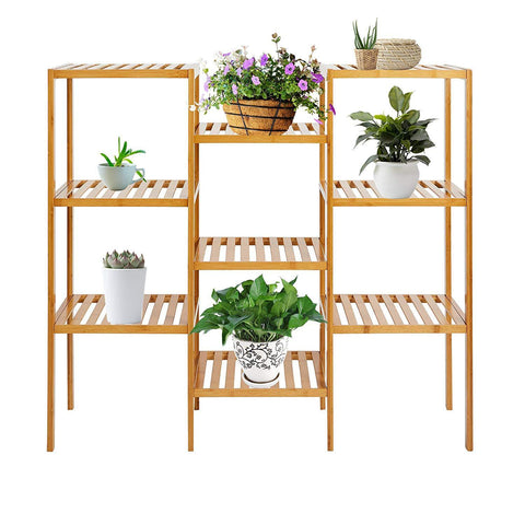 Bosonshop 9 Tiered  Bamboo Plant Stand Shelf Customizable Display Bathroom