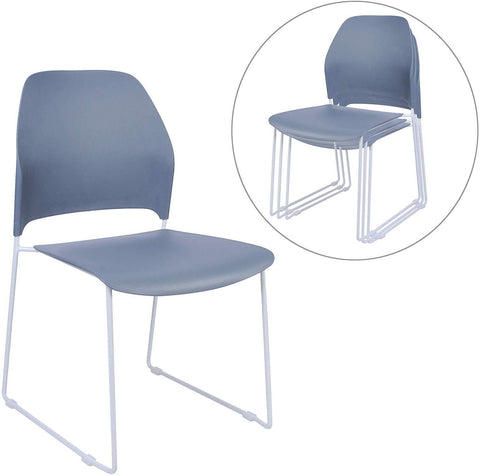 Lightweight Plastic School Stack Chair with Back Ultra-Compact Armless Office Desk Chair for Work Study Dining Gray (Set of 4)