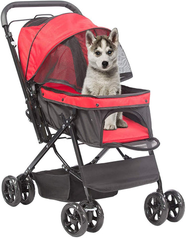 Pet Stroller, Foldable with Storage Basket, Wagon for Cats, Dogs, Pet Babies