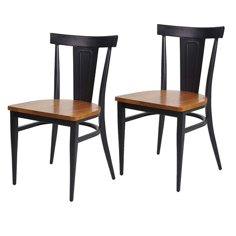 Bosonshop Dining Room Side Chair Set of 2 Wood Kitchen Chairs with Metal Legs
