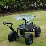 Steerable Garden Stool Cart with Tool Tray and Storage Basket Rolling Work Seat Heavy Duty Scooter with Extendable Steer Handle, Green
