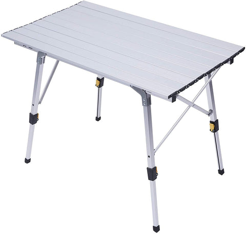 Portable Folding Aluminum Camping Picnic Table, Adjustable Height Compact Outdoor Table with Carry Bag, Silver