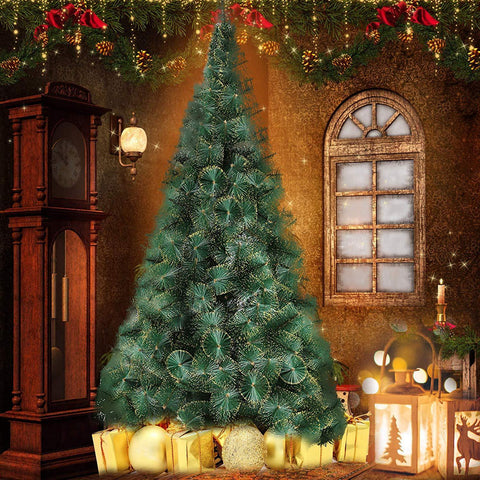 Bosonshop 8' Classic Pine Artificial Christmas Tree Artificial Realistic Natural Branches with Solid Metal Stand with Golden Highlights