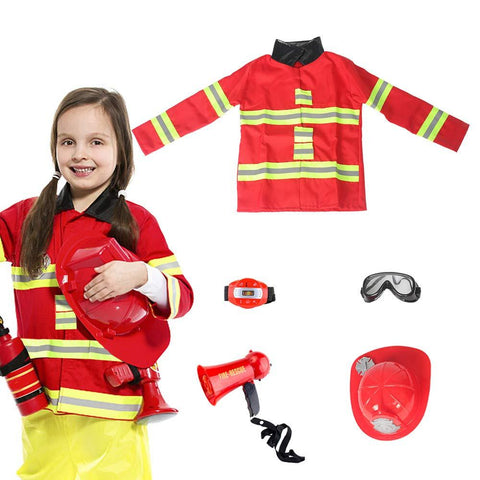 Kids Fireman Costume Toy for Kids with Complete Firefighter Accessories