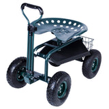 Bosonshop Steerable Garden Stool Cart with Tool Tray and Storage Basket Rolling Work Seat