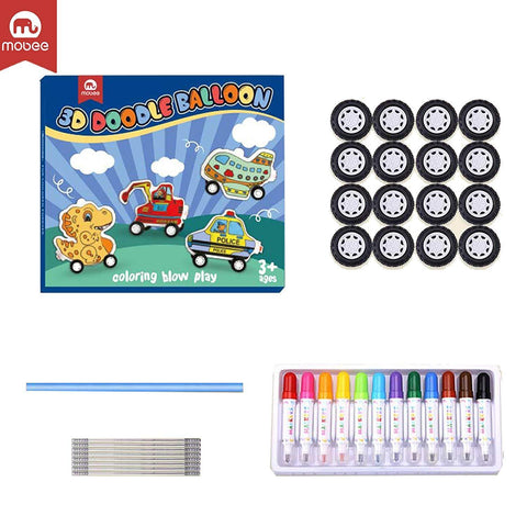 Bosonshop 3D Creative Painting Art Boy Airplane Vehicle Balloons Drawing Toy with Watercolor Pen, Wheels