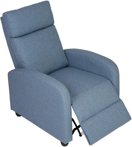 Fabric Recliner Chair Adjustable Single Sofa Home Theater Seating Recliner Reading Sofa for Living Room & Bedroom, Blue