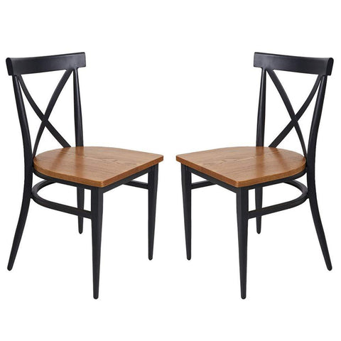 Bosonshop Outdoor Stackable Bistro Cafe Chairs with Cross Back Style, Set of 2