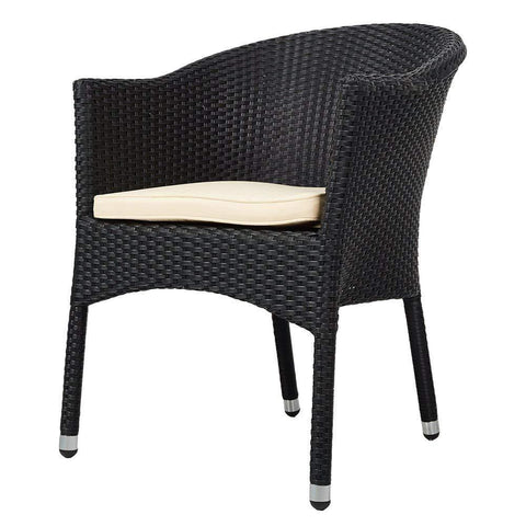 Bosonshop Outdoor Dining Rattan Chairs Patio Garden Furniture with Seat Cushions, Black