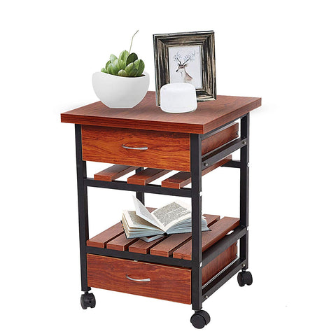Bosonshop Nightstand Dresser Storage Organizer Unit with 2 Drawers for Bedroom Living Room