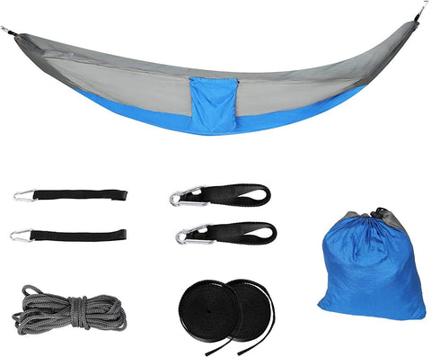Camping Hammock with Net Mosquito Lightweight Nylon Fabric Travel Hammock for Men Women Kids