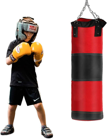 Punching Heavy Bag Workout Hanging Boxing Bag Empty with Chain for Fitness Muay Thai Training (Red)