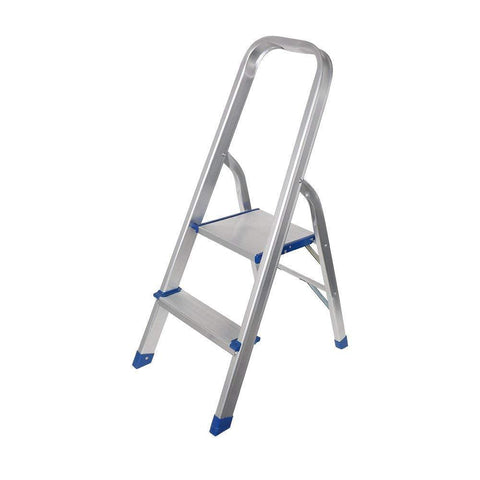 Bosonshop Foldable Household Aluminium 2 Step Ladder Silver For Kithcen, Garage Strong and durable