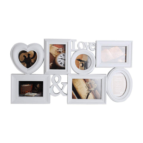 Bosonshop Collage Pictures Frames 7 Openings White Photo Holder with Glass Front for Family,27 X 14.5
