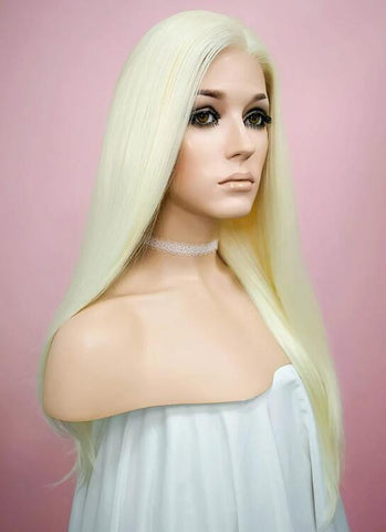 Straight Light Blonde Lace Front Synthetic Wig