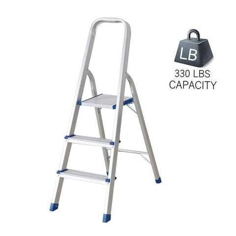 Bosonshop 3 Step Non-Slip Aluminum Ladder Folding Platform Stool with 330 lbs Load Capacity Silver