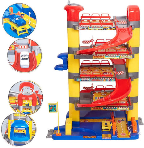 Bosonshop Super Parking Garage Playset Includes 6 Cars for Toddlers