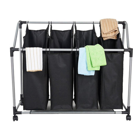 Bosonshop Heavy-Duty 4-Bag Rolling Laundry Sorter Storage Cart, Bag Laundry Organizer with Wheels(Black)