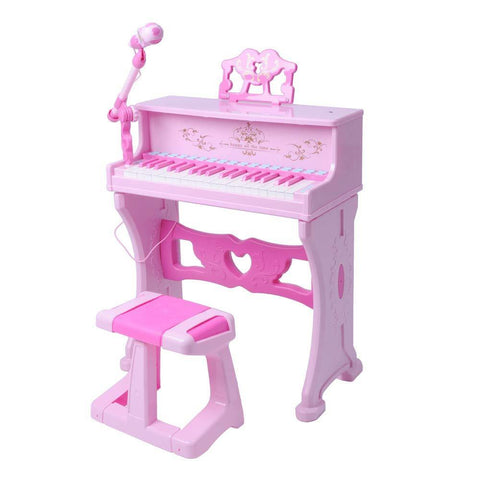 Bosonshop Kids Toy Grand Piano with 37-Key Keyboard Stool and Microphone Little Princess, Pink