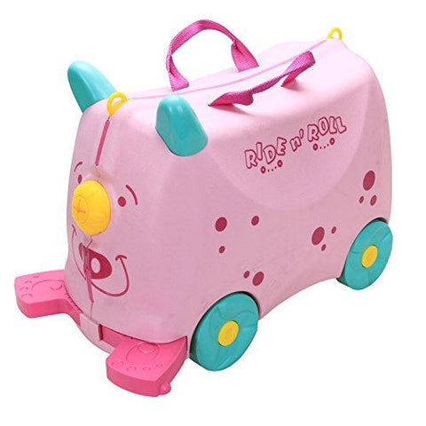 Bosonshop Kid's Ride On Roll Suitcase Travel Luggage & Storage Bag, Pink