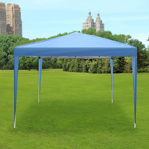 Pop Up Canopy Tent with Mesh Sidewall 10'x10'x8.2' Height Adjustable Outdoor Gazebos, Blue