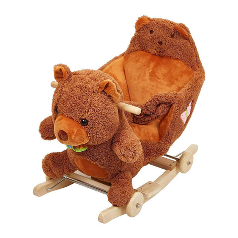 Bosonshop Wooden& Plush Rocking Horse for 1-3 Years Old Toddlers