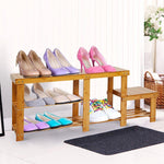 Bosonshop Natural Bamboo Shoe Bench 2-Tier Boot Storage Racks for Entryway Hallway