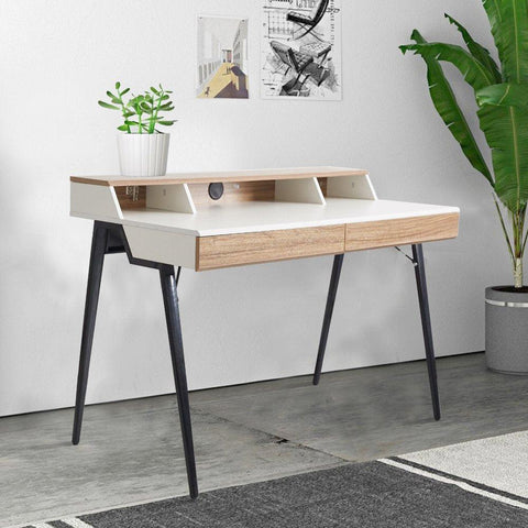 "Bosonshop 47"" Stylish Design Computer Desk with 2 Drawers,Solid Wood Computer Table with Black Metal Legs"