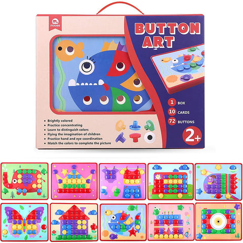 Bosonshop Button Art Color Matching Mosaic Mushroom Nails Pegboard Puzzle Games with 10 Templates