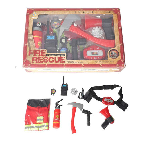 Bosonshop Fireman Costume Fire Chief Dress Up Pretend Role Play Kit Set with Rescue Tools