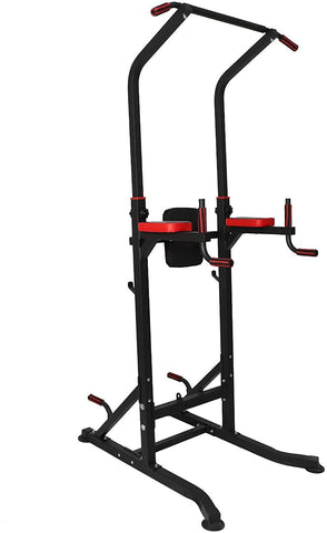 Power Tower Multi-Functional Pull Up Bar Dip Station Workout Exercise Equipment Height Adjustable Heavy Duty Strength Training Stand, 330 LBS Capacity