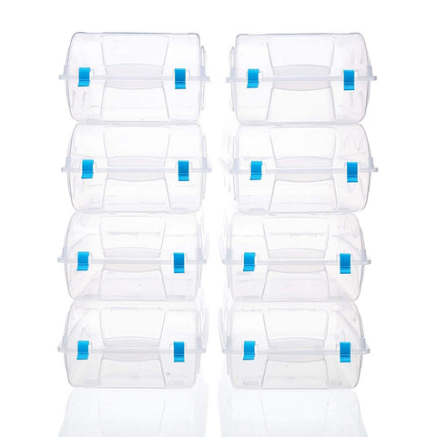 Bosonshop 8 PCS Shoes Box Set Clear Plastic Storage Shoes Case Holder with Locker (blue)
