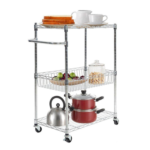 Bosonshop 3 Tier Wire Rolling Cart,Kitchen and Microwave Cart with  Basket,Chrome Finish