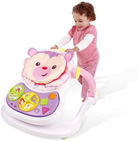 Baby Walker Stroller Sitting Posture Multi-Function Baby Stroller Game Car Dining Car Walker and Stroller, Pink