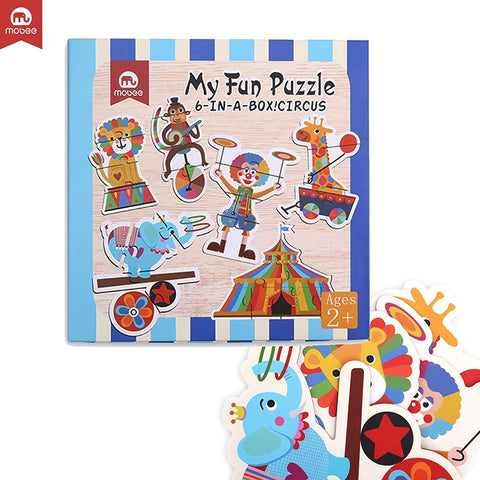 Bosonshop 6-in-1 Educational Jigsaw Puzzles with Reference Sample for Preschool Kids, Circus Puzzle