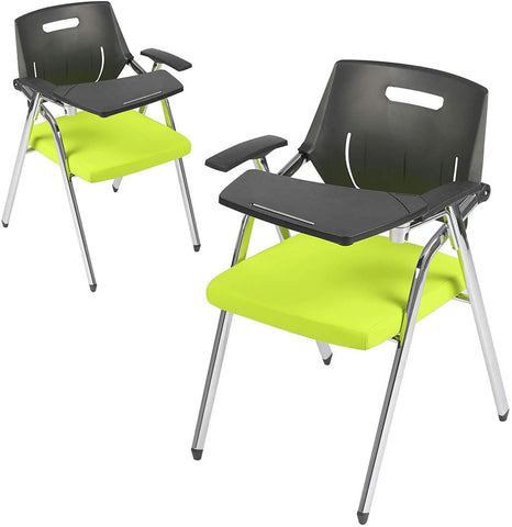 2pc Premium Steel School Chair Folding Office Chair with Arm Desk Chair with Table Arm Desk, Green & Black