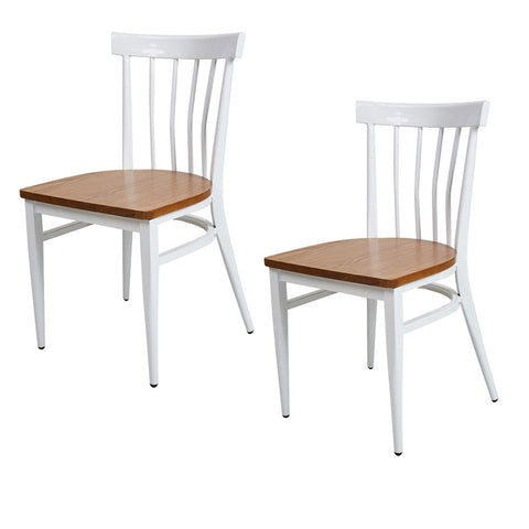 Bosonshop School House Back Metal Restaurant Chair -Solid Wood Seat and Metal Legs,Set of 2