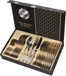 Flatware Set 24 Pieces Silverware Stainless Steel Cutlery Set Include Knife Fork Spoon Mirror Polished Dishwasher Safe