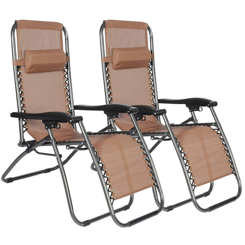 Bosonshop Zero Gravity Reclining Lounge Patio Chairs, 2PC, Brown