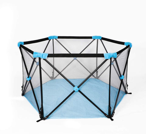 Portable Playpen Kids Play Yard Activity Center with Carry Case Mesh Side, Washable Oxford Cloth