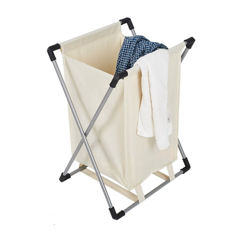 Bosonshop Single Basket Floding Laundry Hamper with X-Frame for Apartment Home College Use