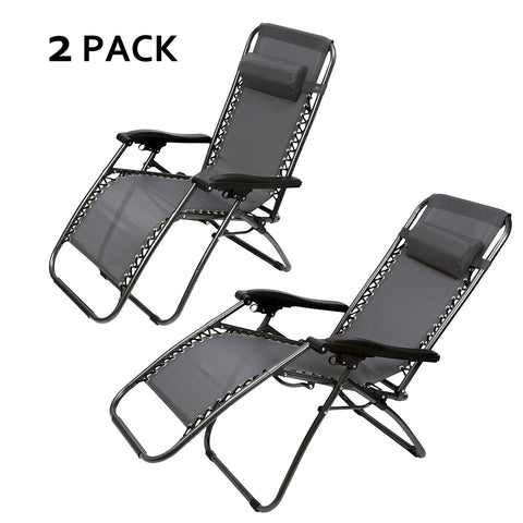 Bosonshop Zero Gravity Patio Adjustable Folding Reclining Chair with Pillow, 2PC Grey