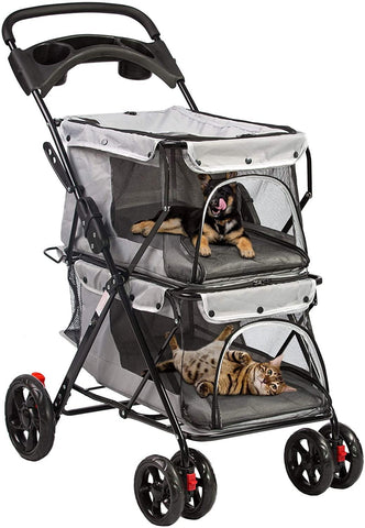 Folding Premium Double Dog & Cat Stroller Pet Stroller With Travel Carrier Cage, Grey
