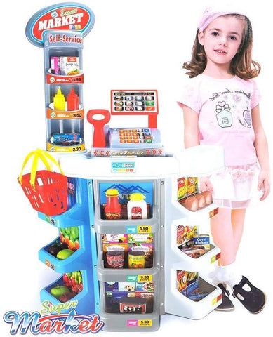 Kids Grocery Supermarket Shop Stand and Cash Register Play Set Toy