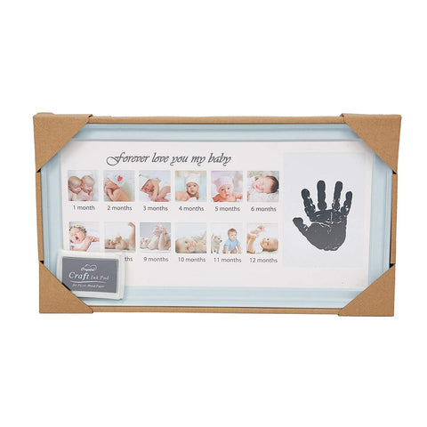 Bosonshop Baby Handprint Kit & Footprint Photo Frame for Newborn Girls and Boys, Blue