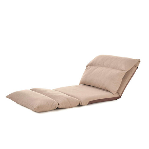 Folding Lazy Sofa Chair Comfortable and Durable Floor Sofa Chair Lounge Chair, Beige