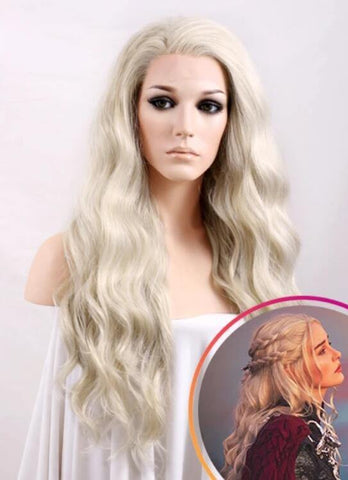 Wavy Light Ash Blonde Lace Front Synthetic Wig